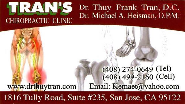 Tran's Chiropractic Clinic - Dr. Thuy Frank Tran & Dr. Michael A Heisman