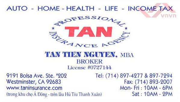 Tan Professional Insurance Agency - Tan Tien Nguyen
