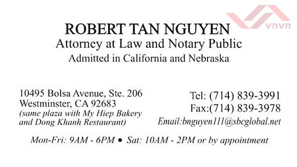Robert Tan Nguyen, Attorney at Law