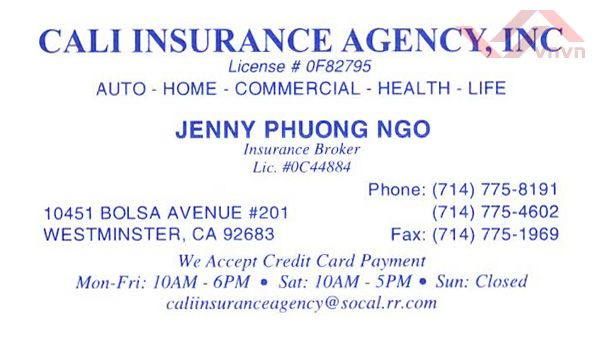 Cali Insurance Agency Inc - Jenny Phuong Ngo